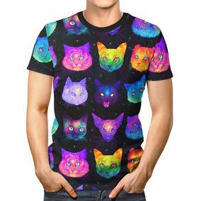 Camiseta Básica 3d Full Unissex Roupa Gatos Psicodélicos
