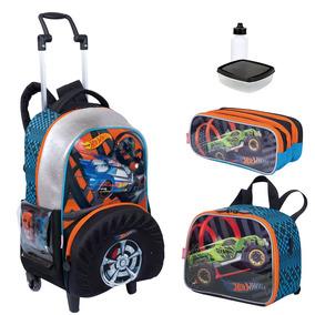 Kit Mochila Hot Wheels Infantil 19z Lancheira Estojo Sestini