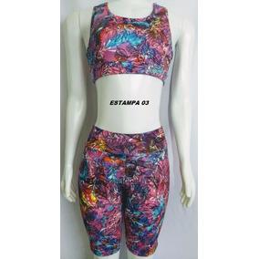 Conjunto Bermuda + Top/moda Fitness Feminina Academia