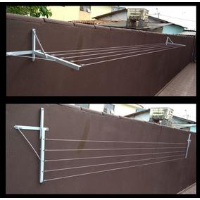 Varal De Muro/parede Com Mão Francesa 5 Cordas De Até 5m.