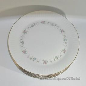 Platos Playos Porcelana Tsuji Bordes Oro X Unidad Reposición