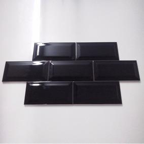 Malla Azulejo Biselado Subway Black Venecitas Bricks 30x30