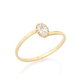 Anel Solitário Ouro Folheado 18k Rosa 512177