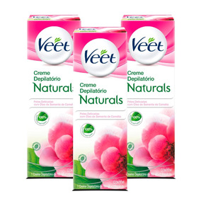 Kit Veet Creme Depilatório Naturals Camélia - 3 Unidades