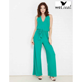 Jumpsuit S Verde Palazzo Wet Seal Pantalon Ancho Chico Super