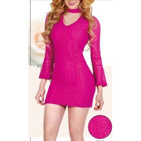 Vestido Rosa Manga Larga Y Cuello Cklass 973-14