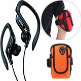 Kit Porta Celular Documento Arm Bag+fone Jvc Sport S/microfn