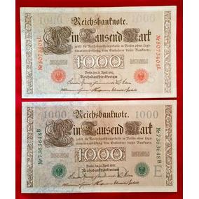 2 Lindas Cédulas Alemanha 1000 Mark 1910 Sob Frete Grátis