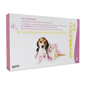 Revolution Combo 6% Cães Gatos Até 2,5kg - 3 Pipetas - 11/20
