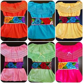 Blusa Artesanal Mexicana Campesina Color Liso Strapless