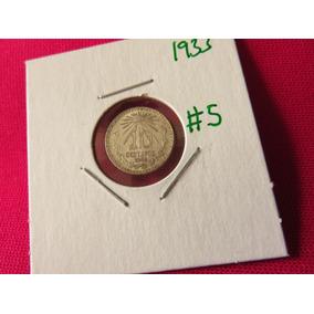 Moneda 10 Centavos 1933 Ley .720 Troquel Roto #5