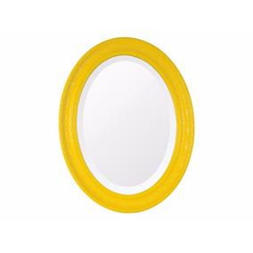 Espelho Oval Bisotê | Retrô Amarelo Grande
