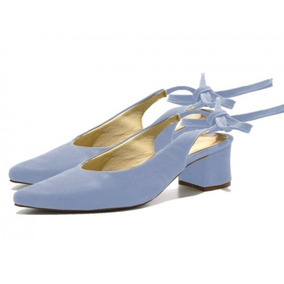 Sandália Feminina Chanel Com Laço Azul