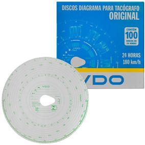 Disco Diagrama Tacógrafo Diário 180km 24h 100 Unidades Vdo