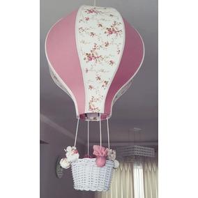 Lustre Quarto Bebê Balão Acinturado Decoração Floral Vinho