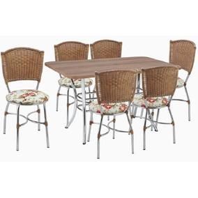 Conjunto De Mesa Josi 137cm Com 06 Cadeiras Giovana