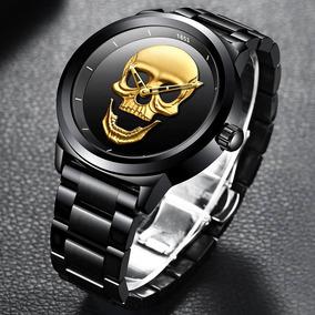 Relogio Caveira Skull 3d C/caixa,original Lige Dourado