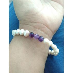 Pulsera De Perlas Con Cuarzo Amatista Natural