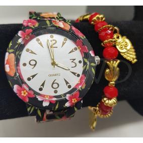 Relógio Feminino Floral Florido + Linda Pulseira + Caixa