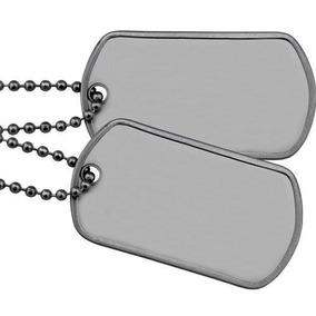 Corrente 2 Placas Identificação Militar Dog Tag Aço Inox