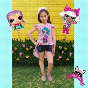 Conjunto De Blusa Muñeca Lol Y Short, Niña Tallas(4-9años)