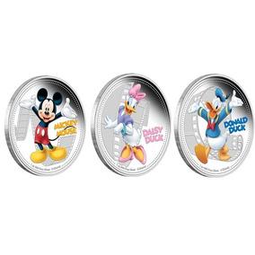 3 Moedas Comemorativas Disney Donald + Mickey + Margarida