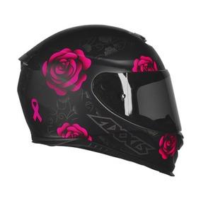 Capacete Motociclista Feminino Mt Axxis Preto Rosa Fosco