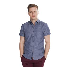 Camisas Hombre Manga Corta Azul Marino Slim Fit Moda B85352