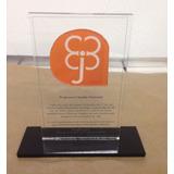 5 Troféu Em Acrílico Transparente Para Adesivar 15x10cm