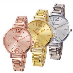 Relógio De Pulso Feminino Em Aço Com Caixa - Presente