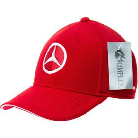 Boné Mercedes Benz Tomflex Aba Curva Vermelho  Branco Aberto f9170c5d7b1