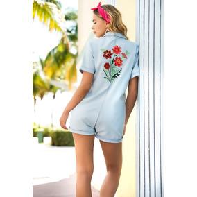 Romper De Mujer Casual O Playa Con Flores Bordadas - 5743