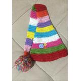 Gorro Infantil Bebê Listrado Colorido Pompom Tricô Crochê 91ddb9070e6