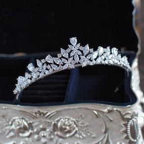 Coroa Tiara Cabelo Noiva Prata Zirconia Princesa Luxo Linda