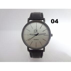 Relógio Masculino Ck Slim Pulseira Couro Barato 12x S/ Juros