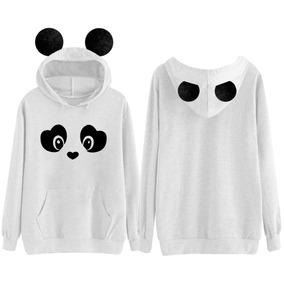 Blusa Moletom Feminino Orelhinha Panda Pandinha Fofo a8b0a1b1fb7