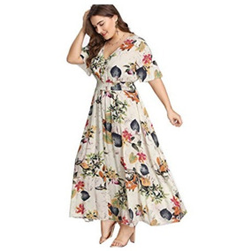 Vestido Extra Grande Para Mujer Floral Cuello V Romwe Flowy