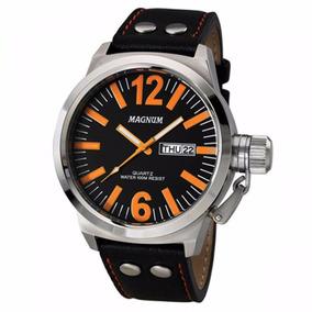 Relógio Magnum Masculino Ma31524j Laranja Aço Couro