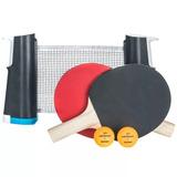 Set 2 Raquetas 2 Pelotas Y Red De Ping Pong Ajustable