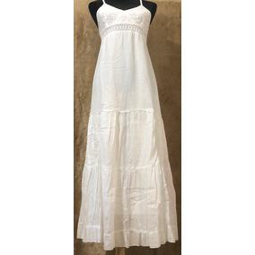 Vestido Blanco Manta Fina Largo Con Forro Y Tirantes