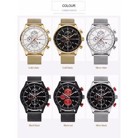 5a570a0d501 São Paulo · Relógio Quartzo Dourado De Luxo Dos Famosos Curren Masculino