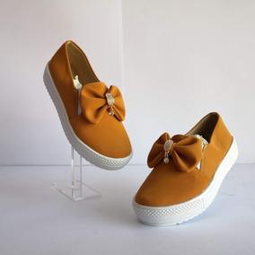 Zapato Tenis Casual Mujer Moño Mostaza