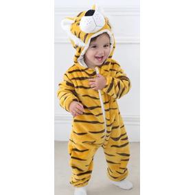 Macacão Bebê Microfibra Tigre Capuz Importado
