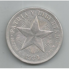 Moeda De Prata De Cuba - 1 Peso - 1934 - Rara - Original