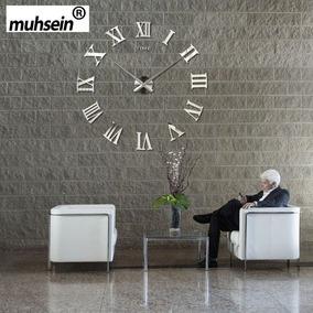 Relógio De Parede Romano Espelhado Grande Decorativo 3d