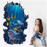 Mural Calcamonia Para Baño Decoración 3d Sea World 60x90 Cm