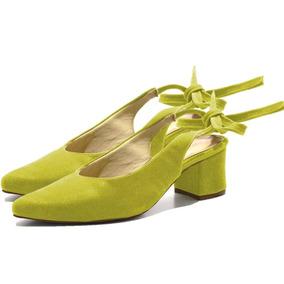 Sandália Verde Esmeralda Chanel Salto Médio Com Laço