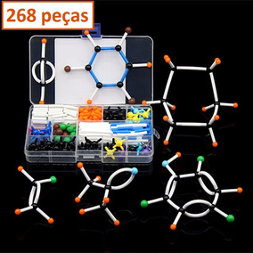 Kit Modelo Molecular Estojo Ensino Química Orgânica 268peças