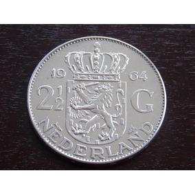 Prata Da Holanda 2 1/2 Guldem 1964. 15 Gr 33 Mm Frete Grátis