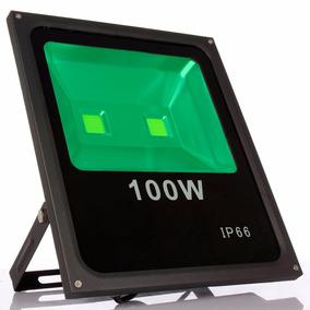 Kit 6 Uni Refletor Led100w Verde Bivolt Prova D